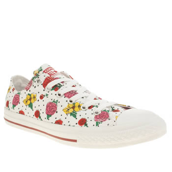 Girls Converse White & Red All Star Lo Floral Polka Girls Youth