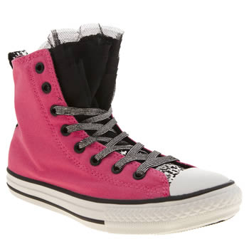 Converse Pink & Black All Star Party Hi Girls Youth