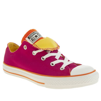 Girls Converse Pink All Star Double Tongue Girls Youth