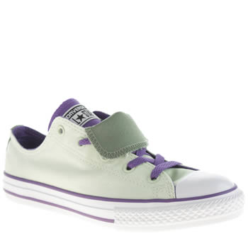 Girls Converse Light Green All Star Double Tongue Girls Youth