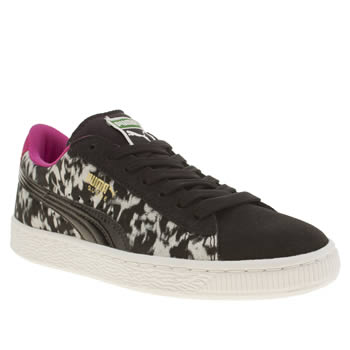 Girls Puma Black & White Suede Material 1 Girls Youth