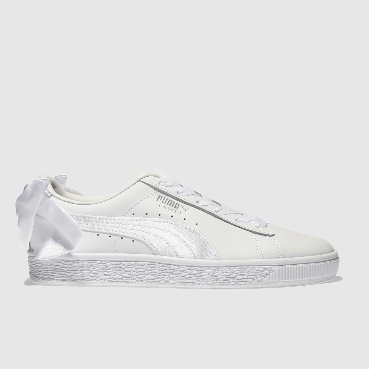 Puma White Basket Bow Girls Youth Trainers