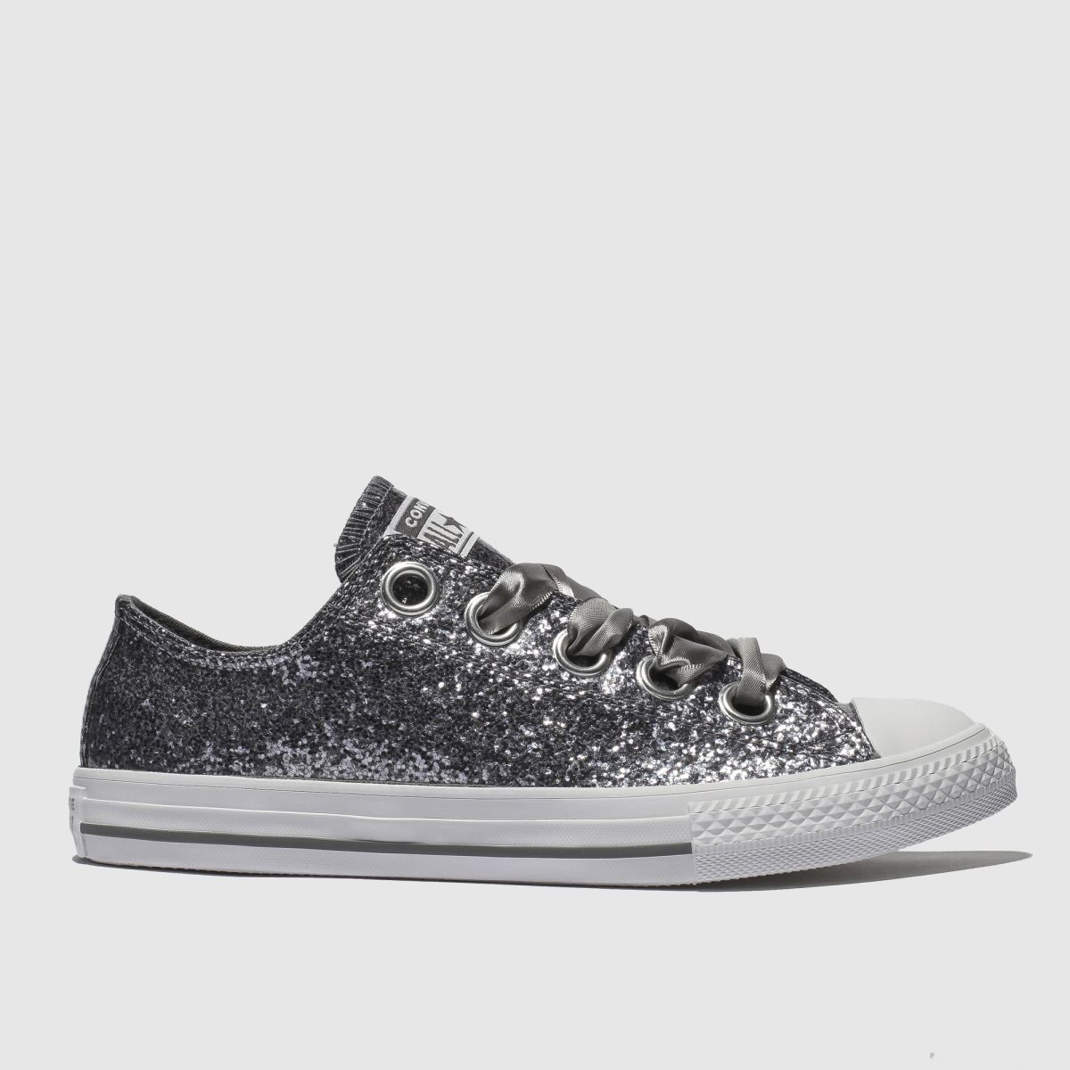 Converse Silver All Star Big Eyelets Lo Trainers Youth