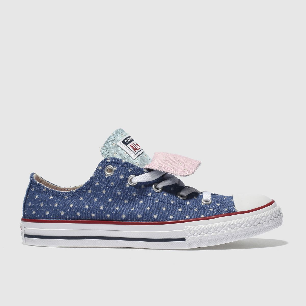 Converse Navy All Star Double Tongue Lo Girls Youth Trainers