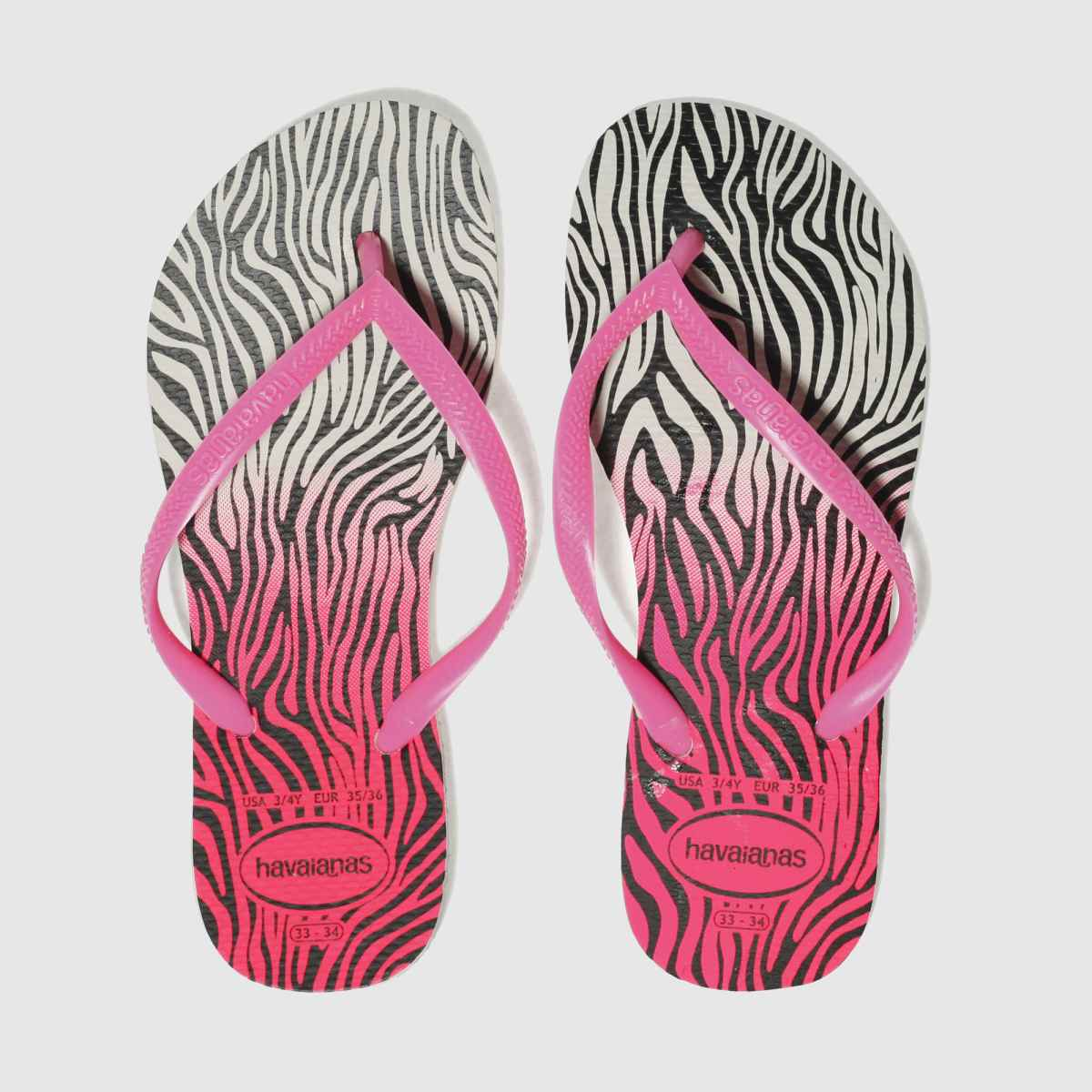 Havaianas White & Pink Slim Animal Girls Youth Sandals