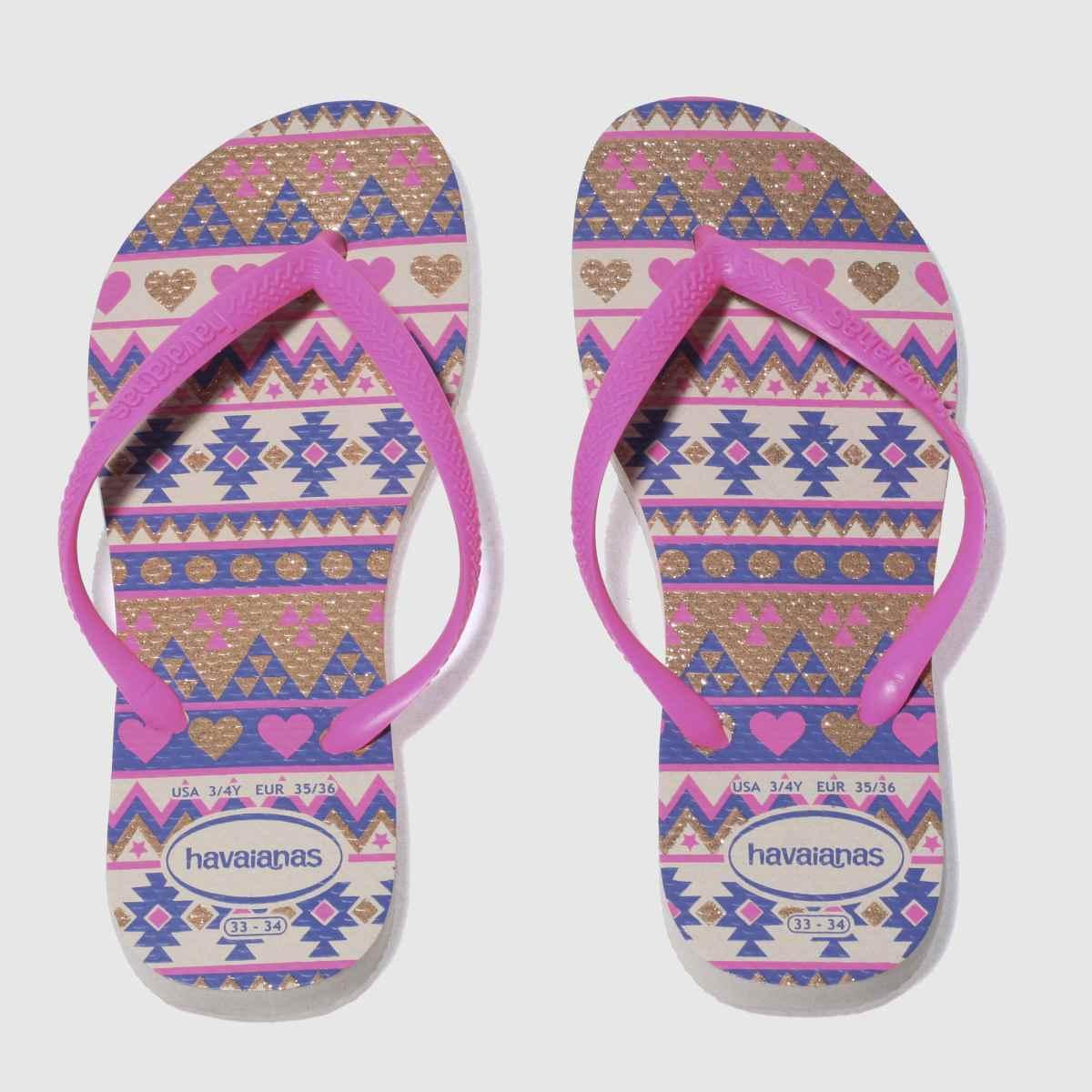 Havaianas Pink & Blue Slim Fashion Girls Youth Sandals