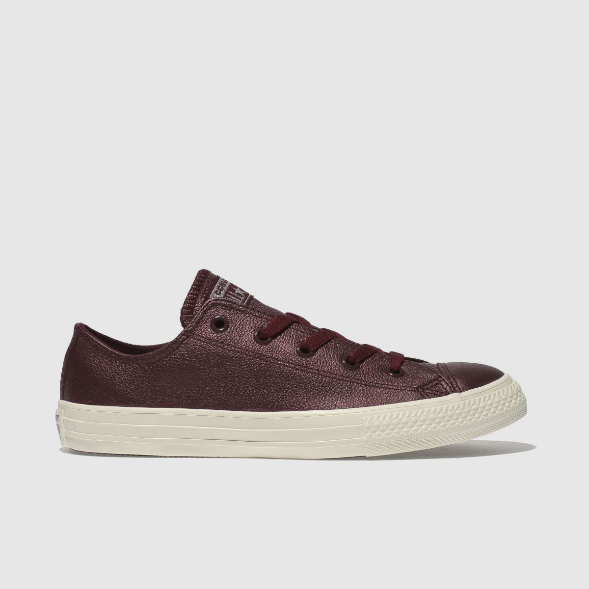 Converse Burgundy All Star Lo Leather Trainers Youth