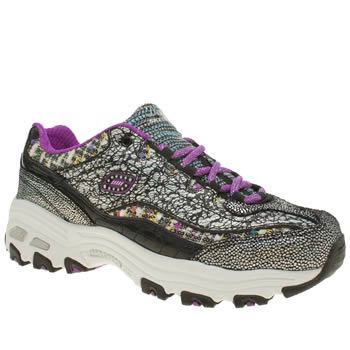 Skechers Black & Silver D-lites Glitz Glaz Girls Youth