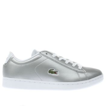 LACOSTE SILVER CARNBY EVO GIRLS YOUTH TRAINERS
