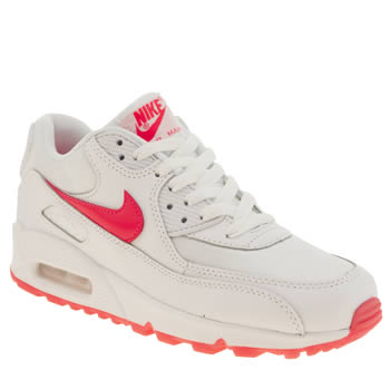 Girls Nike White & Pink Air Max 90 Girls Youth