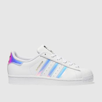 ADIDAS WHITE & SILVER SUPERSTAR GIRLS YOUTH TRAINERS