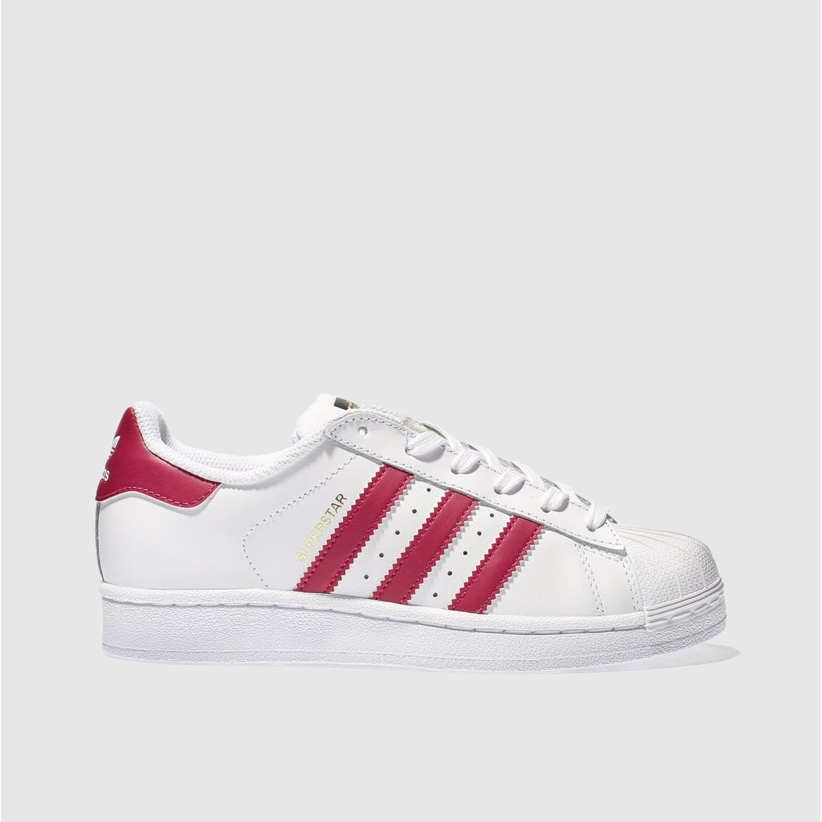 adidas white & pink superstar Girls Youth Trainers