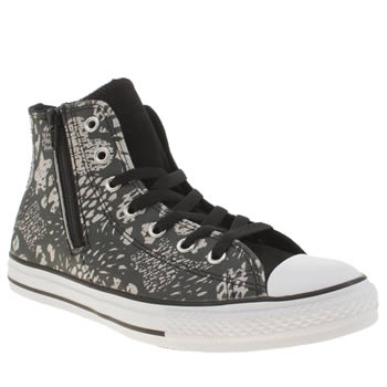 Converse Black & Silver All Star Animal Side Zip Girls Youth