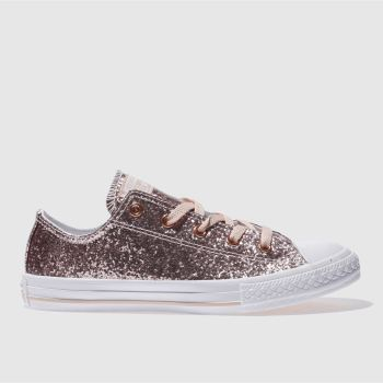 CONVERSE PINK ALL STAR OX GLITTER GIRLS YOUTH TRAINERS