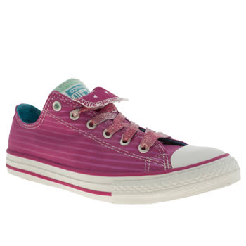 kids converse pink all star double tongue trainers