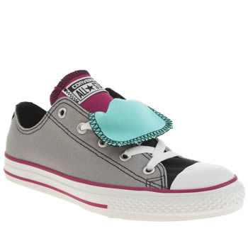 Girls Converse Light Grey All Star Double Tongue Girls Youth