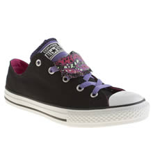 Youth Black & pink Converse All Star Double Tongue