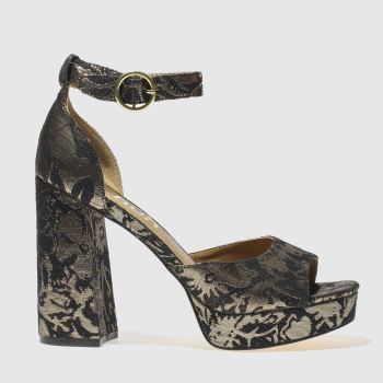 Schuh Black & Gold Party Trick Womens High Heels