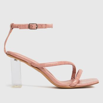 schuh Pale Pink Shelly Clear Heel Womens High Heels