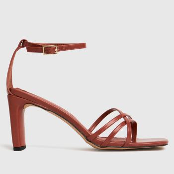schuh Orange Samara Strippy Block Heel Sand Womens High Heels