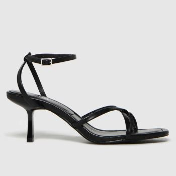 schuh Black Sapphire Croc Strappy Sandal Womens High Heels