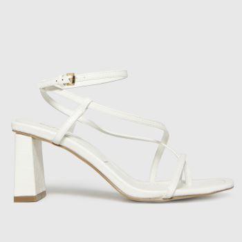 schuh White Storm Croc Strappy Sandal Womens High Heels