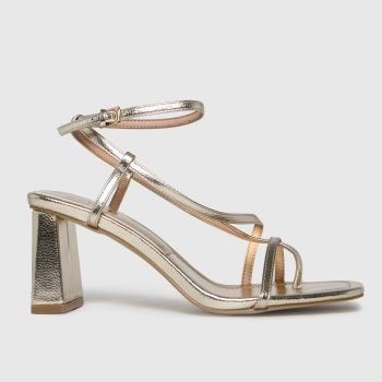 schuh Gold Storm Strappy Sandal Womens High Heels