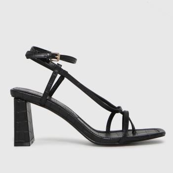 schuh Black Storm Croc Strappy Sandal Womens High Heels