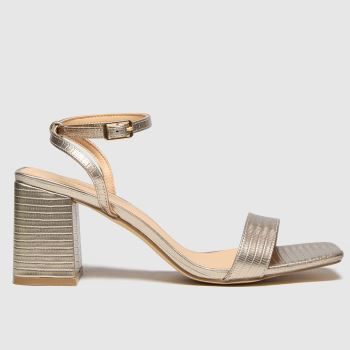 schuh Gold Sienna Block Heel Sandal Womens High Heels