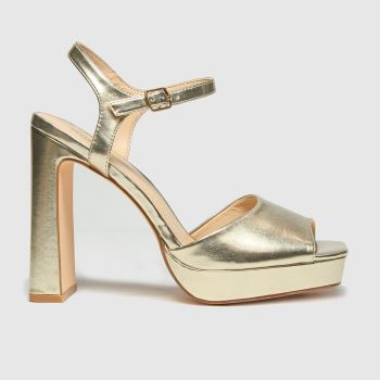 schuh Gold Sally Platform Shoe Womens High Heels#