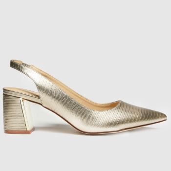 schuh Gold Sasha Pointed Slingback Womens High Heels#
