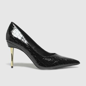 schuh Black Sky Patent Croc Point Womens High Heels