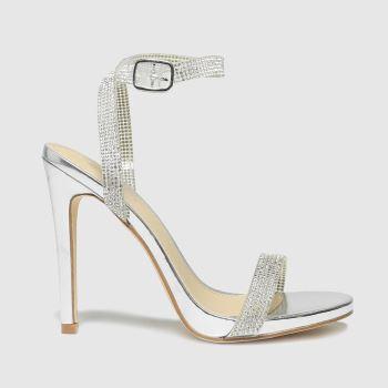 schuh Silver Stella Embellished Heel Sandal Womens High Heels