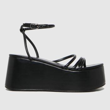 schuh Black Sabrina Flatform Strappy Womens Sandals