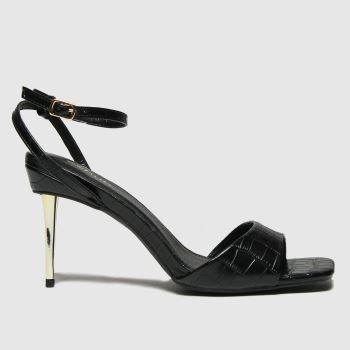 schuh Black Sophia Metal Heel Sandal Womens High Heels