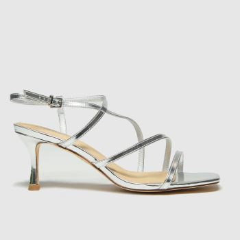 schuh Silver Sadie Strappy Mid Heel Womens High Heels#