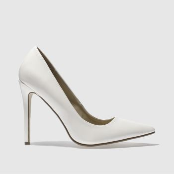 MISSGUIDED WHITE POINT TOE COURT HIGH HEELS
