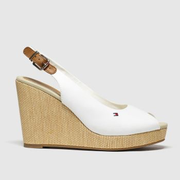 Tommy Hilfiger White Iconic Elena Slingback Wedg c2namevalue::Womens High Heels