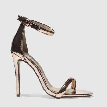 Missguided Gold Strap Barely There Womens High Heels