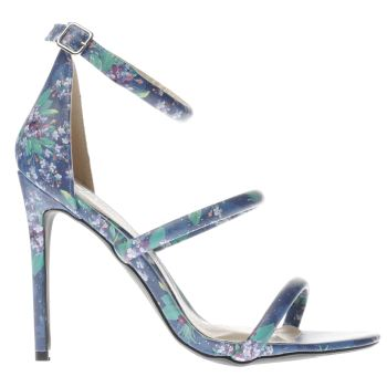 MISSGUIDED BLUE DITSY FLORAL 3 STRAP HIGH HEELS