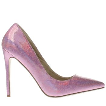 MISSGUIDED PINK METALLIC POINT HIGH HEELS