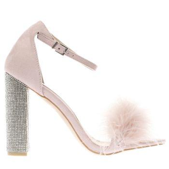 missguided pale pink glitter & fur block high heels