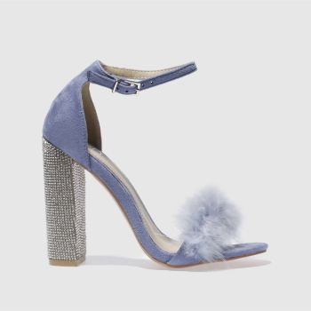 Missguided Lilac Glitter & Fur Block Womens High Heels