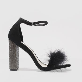 Missguided Black & Silver GLITTER & FUR BLOCK High Heels