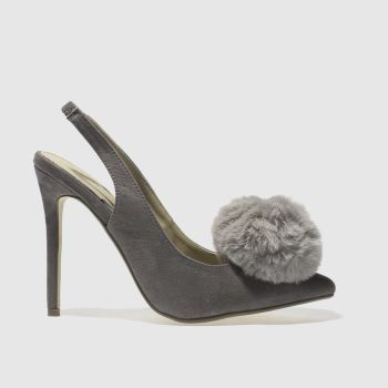 MISSGUIDED GREY POM POM SLINGBACK HIGH HEELS
