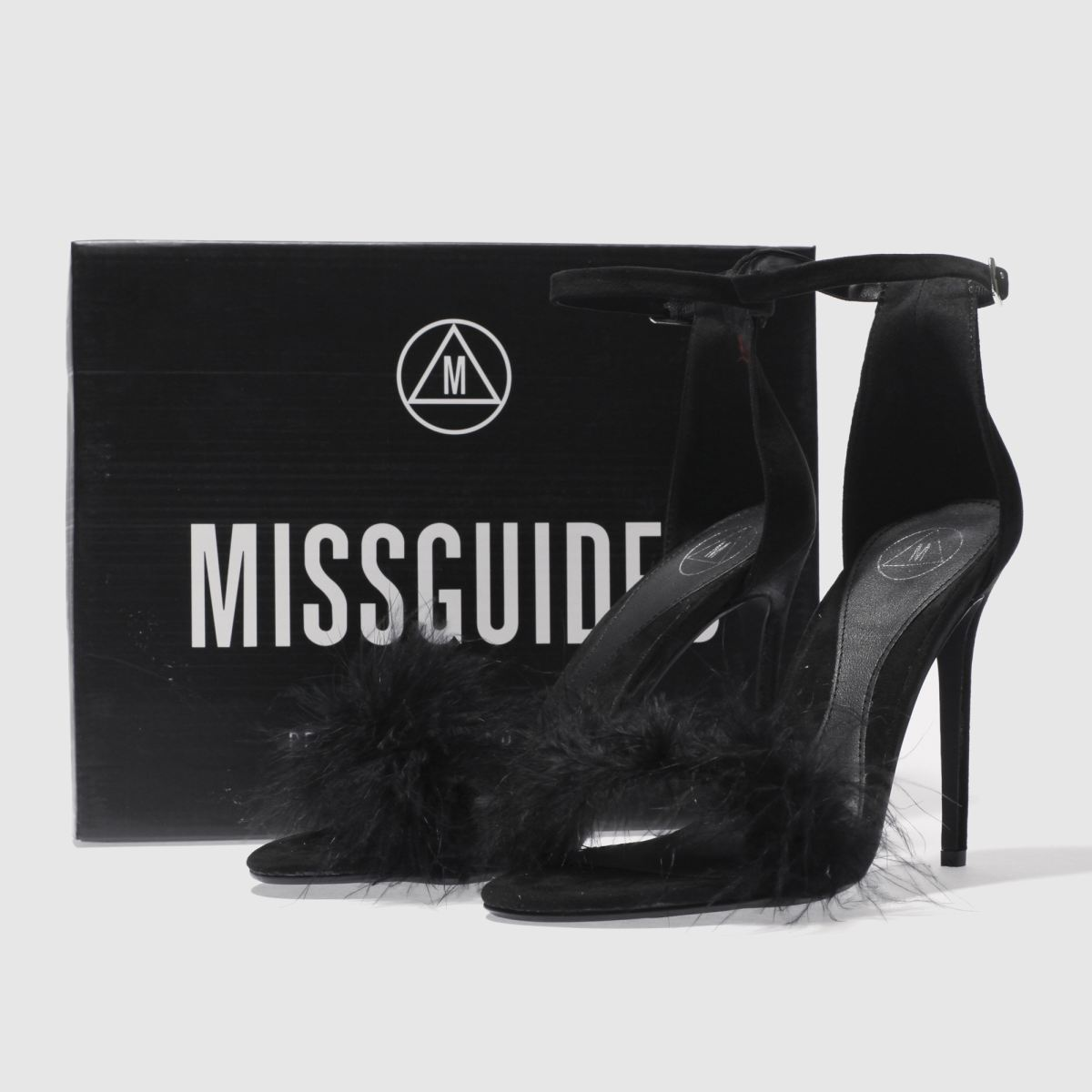 Damen Schwarz missguided Feather Barely There High Heels | Schuhe schuh Gute Qualität beliebte Schuhe | 248486