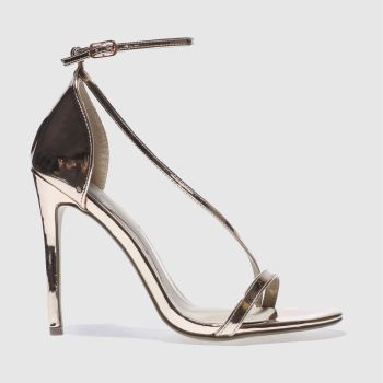 Missguided Gold Asymmetric Strappy Womens High Heels
