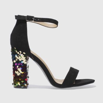 MISSGUIDED BLACK SEQUIN HEEL SANDAL HIGH HEELS