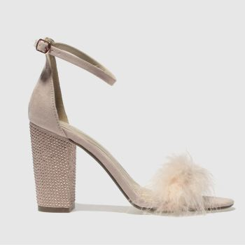 Missguided Natural Diamanté Block Fur Womens High Heels