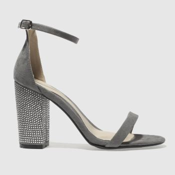Missguided Grey Diamanté Block Womens High Heels